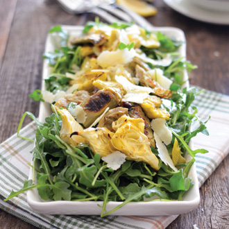 ROASTED ARTICHOKE HEARTS WITH ARUGULA AND SHAVED PARMESAN