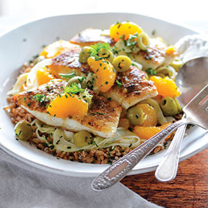 PAN-COOKED HALIBUT WITH FENNEL, ORANGES, AND GREEN OLIVES